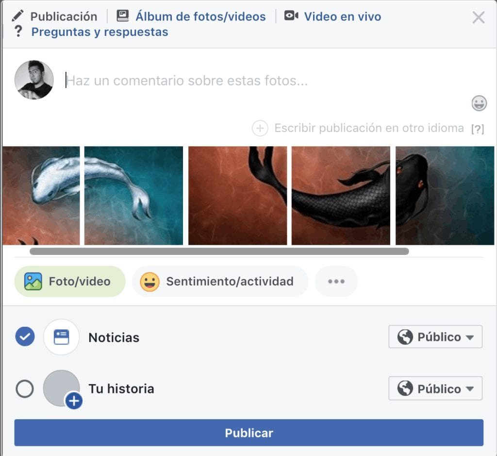 Posteando en Facebook